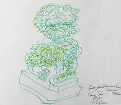 Chinese fu dog green drawing