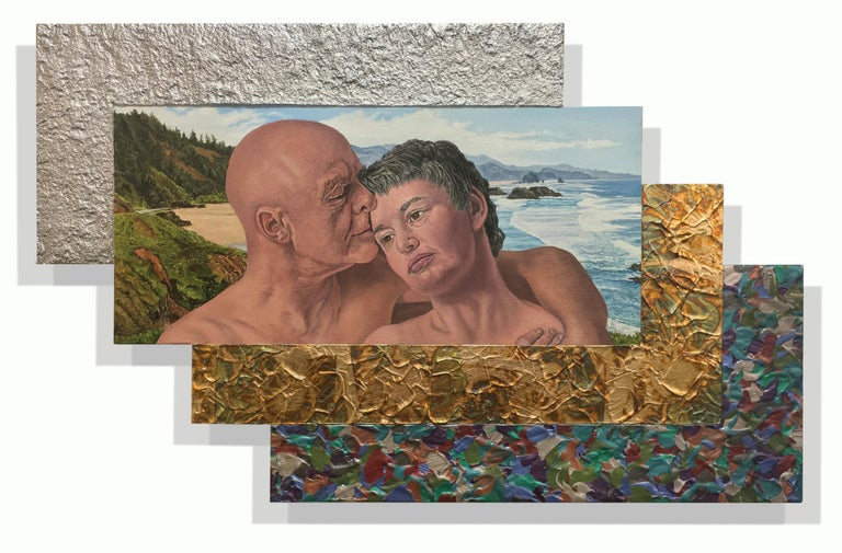 Jack Reilly, Two Perfect Souls in a Perfect Place and Time, Mixed Media,2018 - Painting by Jack Reilly