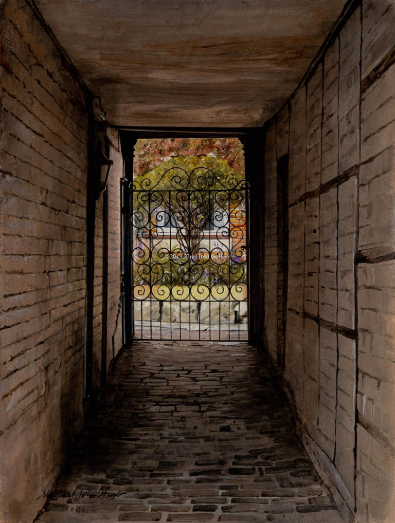 Michael John Hunt  Still-Life Painting - The wrought iron gate by Michael John hunt