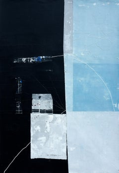 'Black and Blue Residue' by Antoine Puisais, mixed-media, linen, abstract, blue