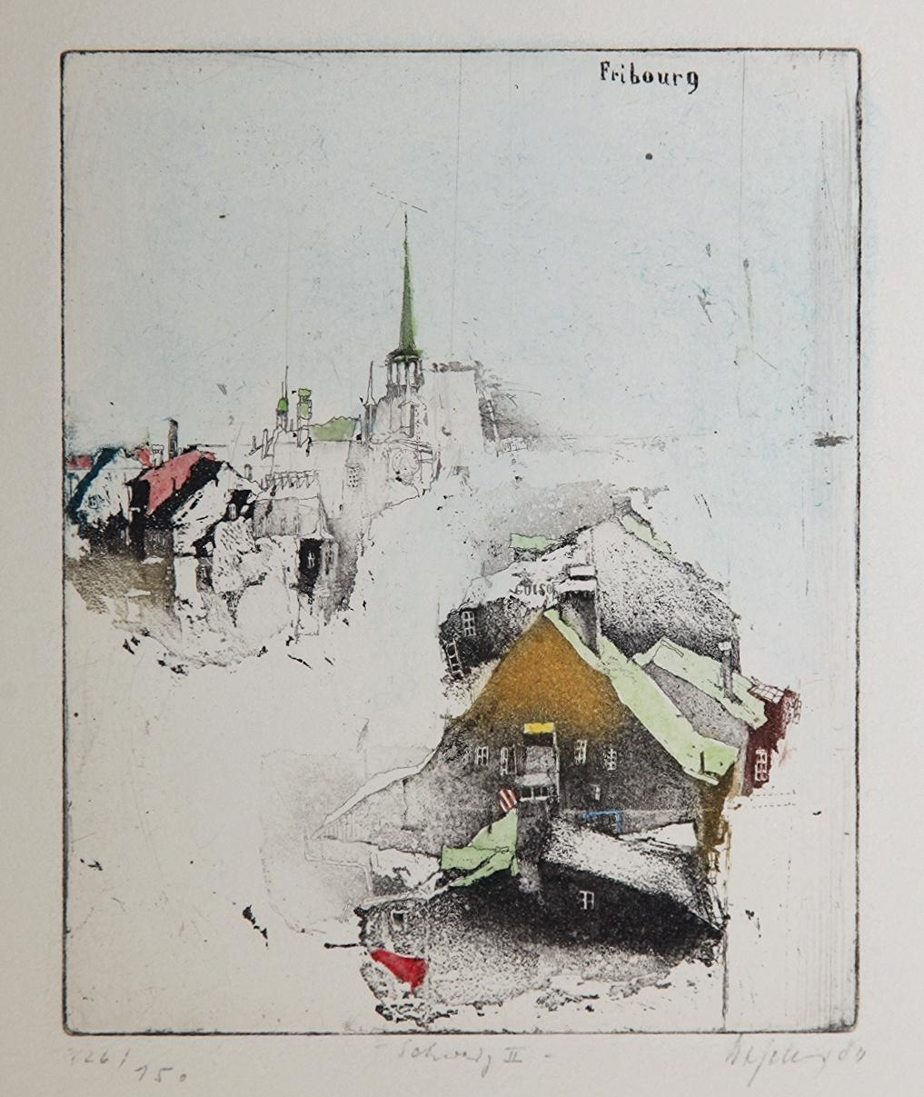 Fribourg, Alexander Befelein, Contemporary Limited Edition Print, Etching Yellow