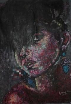 Afro Sister I, Mwamba Chikwemba, Female Portrait, Black Figurative Art, Woman