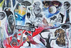 Congress of Demagogues, Contemporary Abstract African Mixed media Art Collage