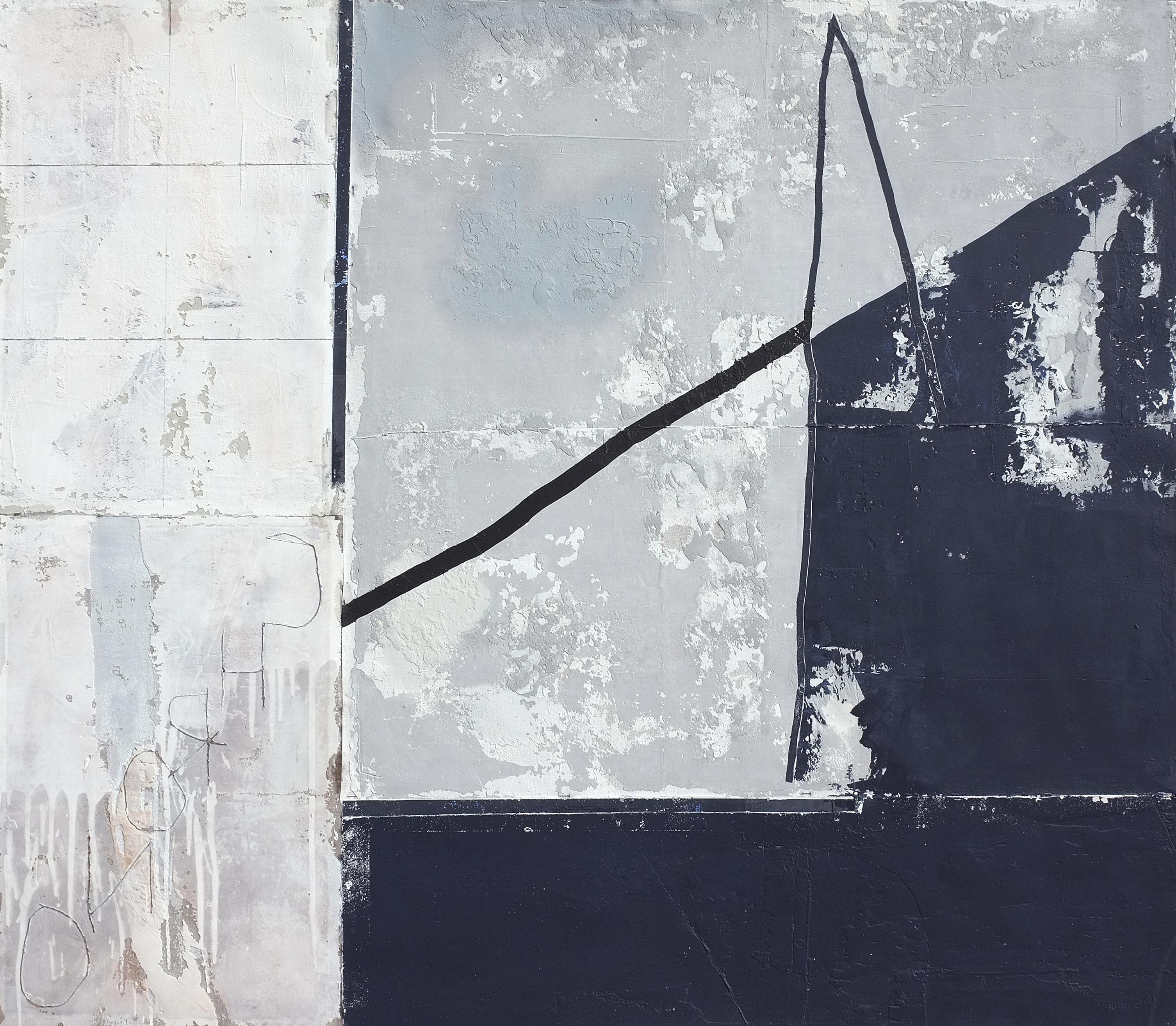 Degree of Presence, Contemporary Abstract Mixed media Minimalist Gray Grey