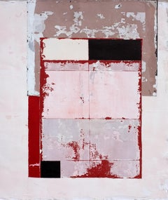 'Empty' by Antoine Puisais, mixed-media on linen, abstract, red, contemporary