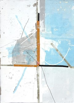 Grey Court, Contemporary Abstract Mixed media Minimalist Blue Painting Canvas