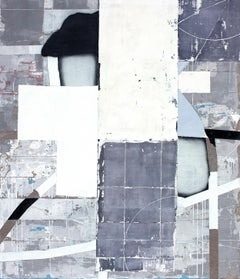 Grid, Antoine Puisais, Mixed-media, Abstract, Busy Pattern, Dark Blue, Collage