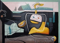 'Blue Sight' by Bernard Simunovic, acrylic on canvas, abstract
