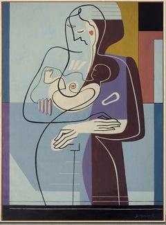 Circle of Life, Bernard Simunovic, Abstract Geometric, Figurative, Woman, Blue