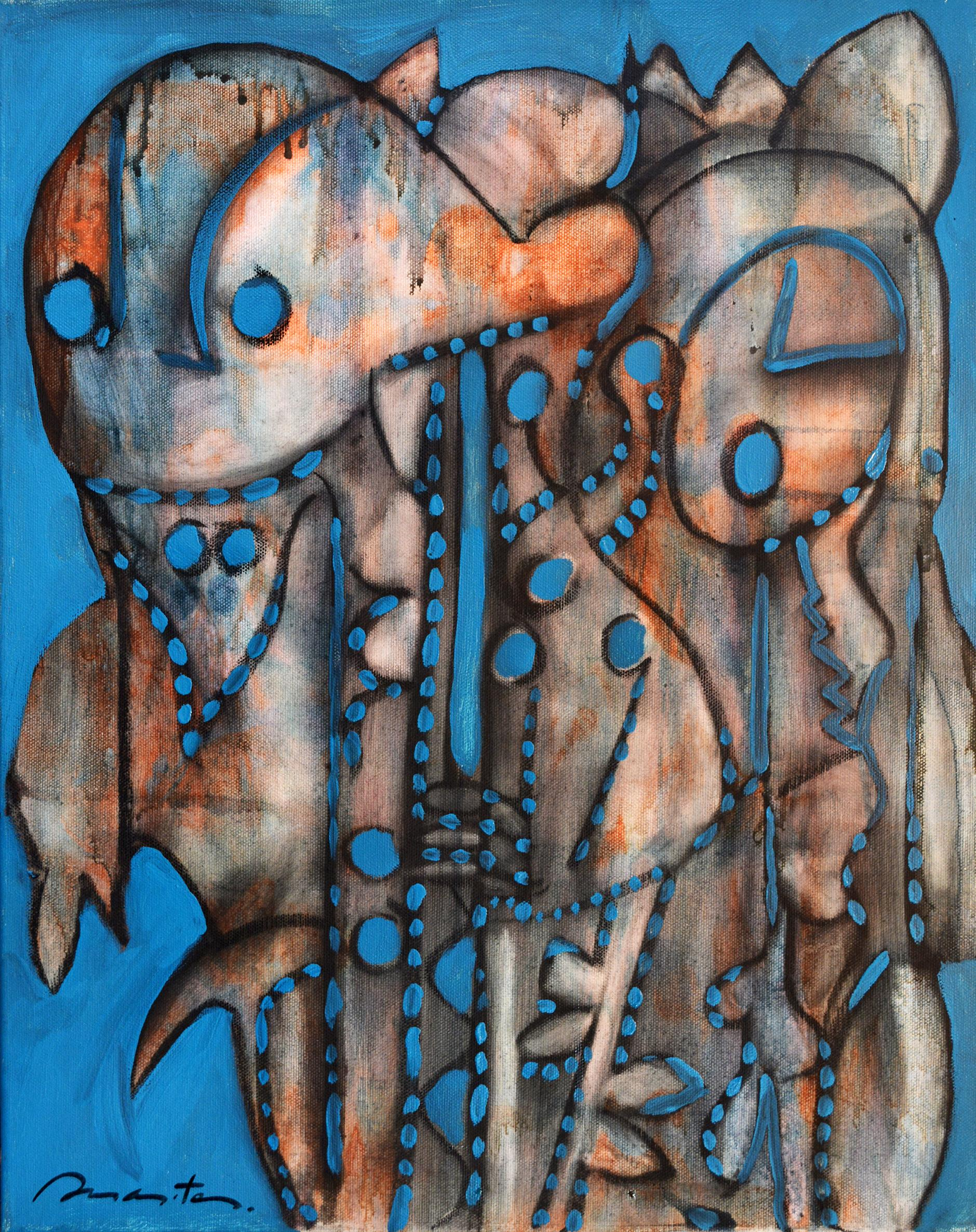 Couple, Contemporary Abstract Art Charcoal Acrylic Painting Canvas Blue Orange