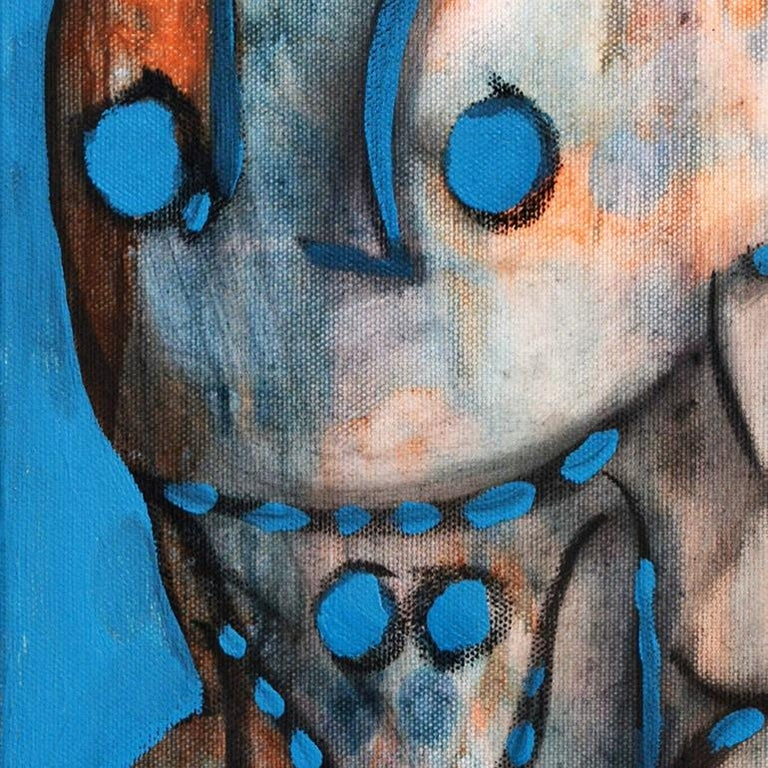 Couple, Rolando Duartes, Contemporary Abstract Painting, Orange, Blue, Canvas For Sale 2