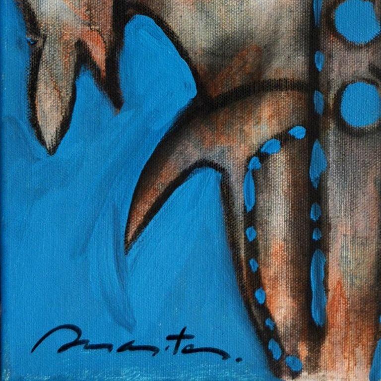Couple, Rolando Duartes, Contemporary Abstract Painting, Orange, Blue, Canvas For Sale 1