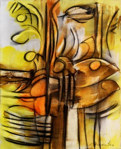 Fugue, Contemporary Abstract Acrylic Charcoal Painting Expressionist Yellow