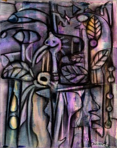 Jungle, Rolando Duartes, Contemporary, Purple, Abstract Painting, Mixed-media