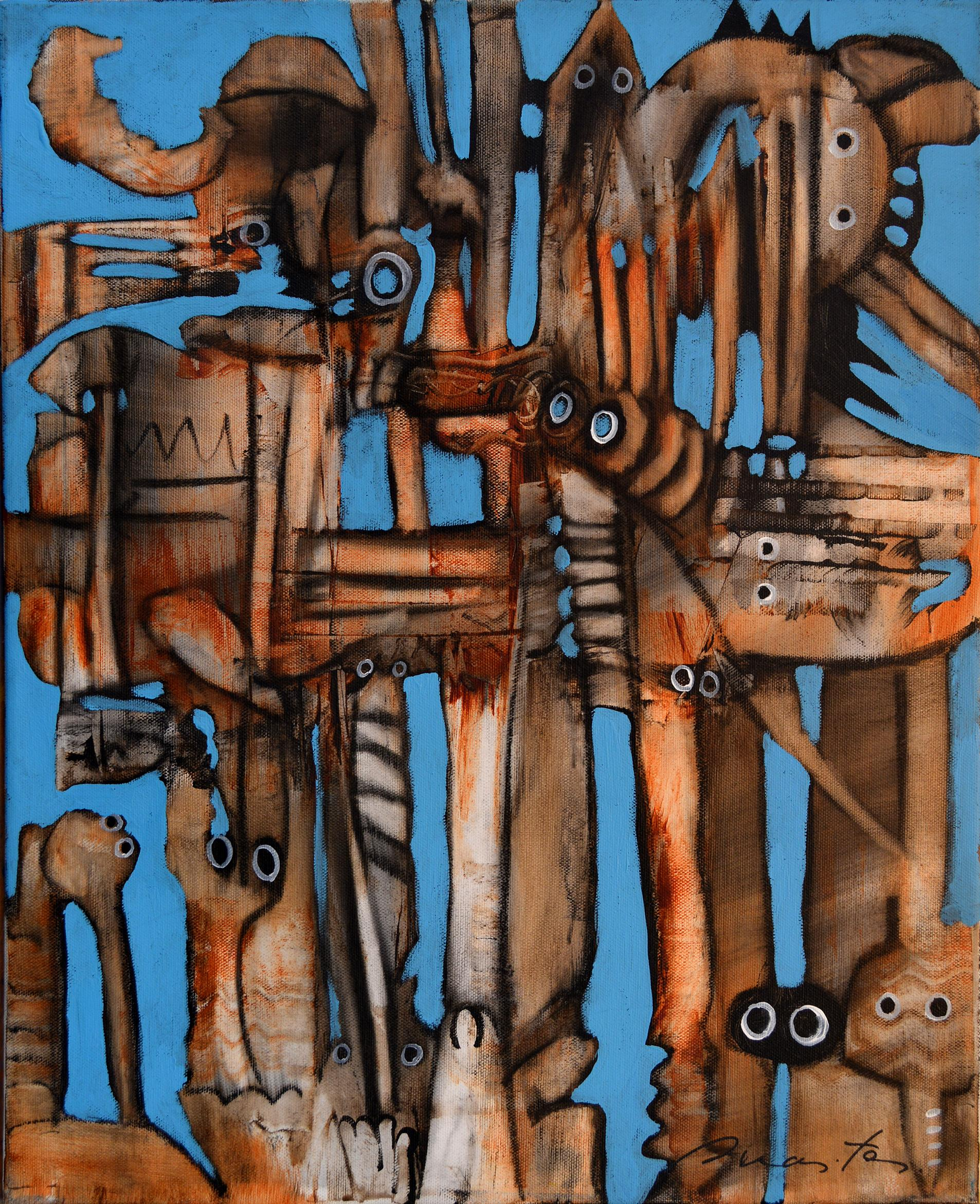 Observers, Contemporary Abstract Art Acrylic Charcoal Painting Canvas Orange