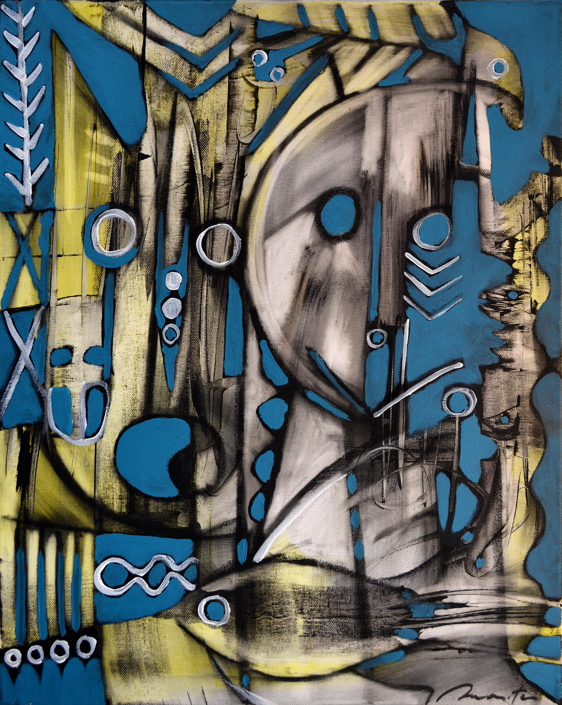Witness, Contemporary Abstract Art Acrylic Charcoal Painting Canvas Yellow Blue