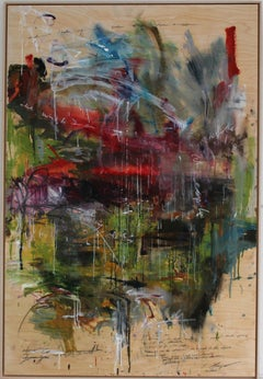'Falling Water' abstract mixed-media on wood by Stefan Heyer