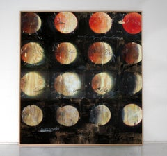 'Moonchild' abstract mixed-media on wood by Stefan Heyer