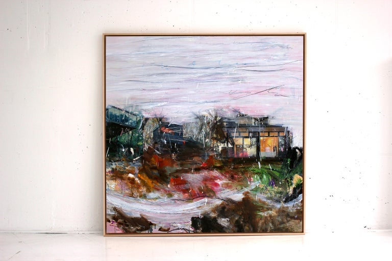 'The River' abstract mixed-media on wood by Stefan Heyer  Mixed-media: oil, photo-transfer, oil stick, crayon, pencil on wood  Stefan Heyer is an artist living and working in Hamburg, Germany. His gestural abstractions are an exploration of