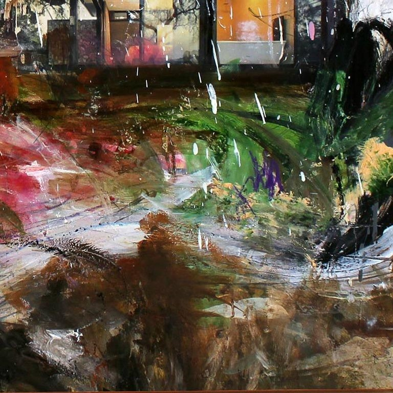 'The River' abstract mixed-media on wood by Stefan Heyer, collage For Sale 2