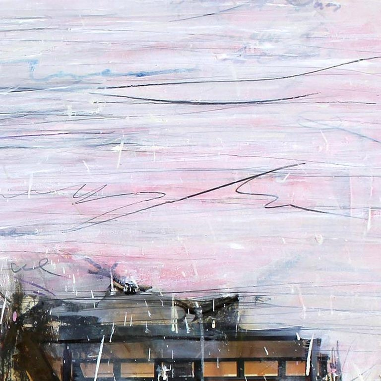 'The River' abstract mixed-media on wood by Stefan Heyer, collage For Sale 3