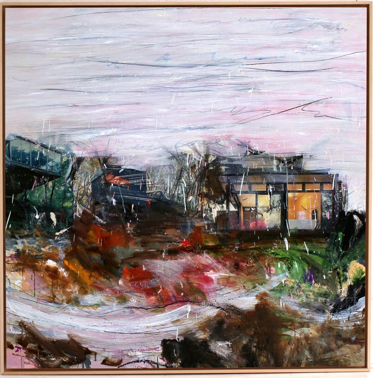'The River' abstract mixed-media on wood by Stefan Heyer, collage For Sale 4