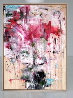 'Try Love' abstract mixed-media on wood by Stefan Heyer