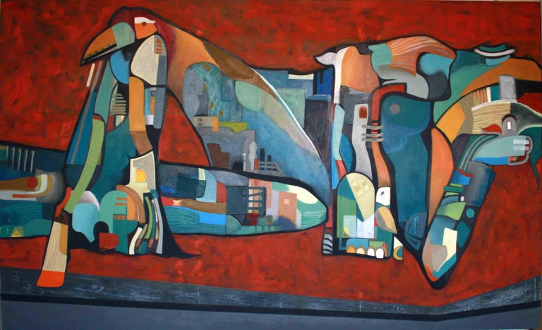 'Homeless' by Janet Hagopian, abstract, acrylic on canvas.   'In my work, I pay great attention to the structure of forms, shapes and colors, which creates the inhabitable space that starts to resemble story and life experience, behind the