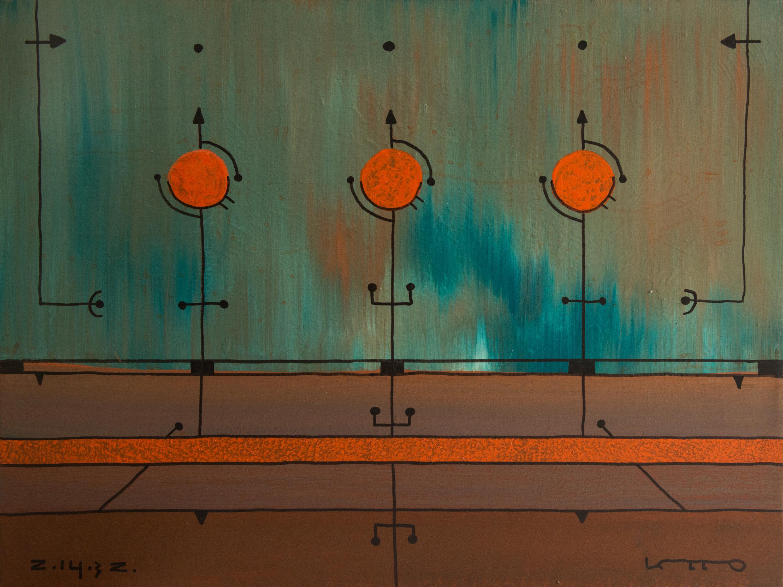 Night Flight, Modern Abstract Geometric Art Painting Canvas Landscape Green Red