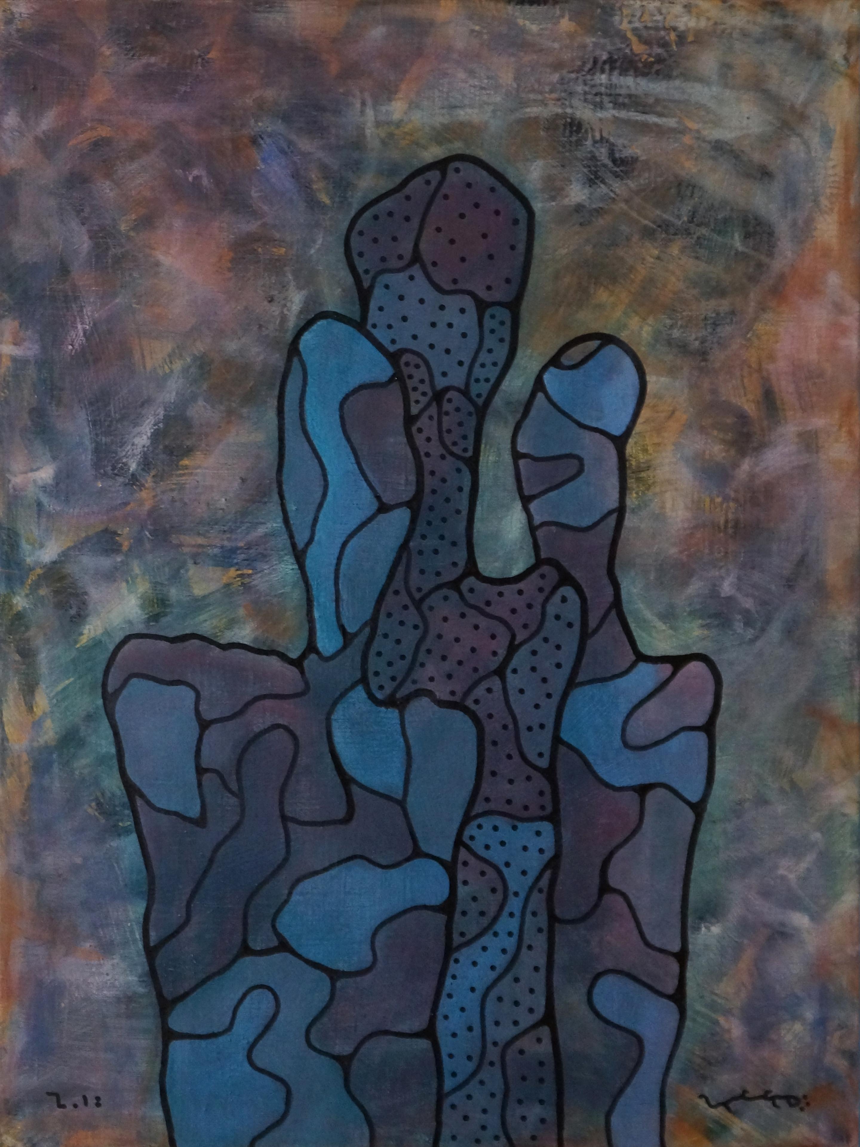 Careful Optimism, Contemporary Abstract Art Painting Canvas Portrait Blue Purple