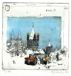Koln, Alexander Befelein, Contemporary Limited Edition Print, Etching, Blue