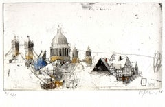 London, Alexander Befelein, Contemporary Limited Edition Print, Etching, Yellow