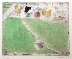 Luzern, Alexander Befelein, Etching, Green, Architecture, Limited Edition Print