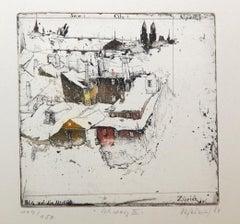 Zurich, Alexander Befelein, Etching, Architecture print, Aerial view, Limited Ed