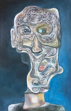 'Luminous 51' abstract figurative painting, oil on canvas, portrait, surrealism