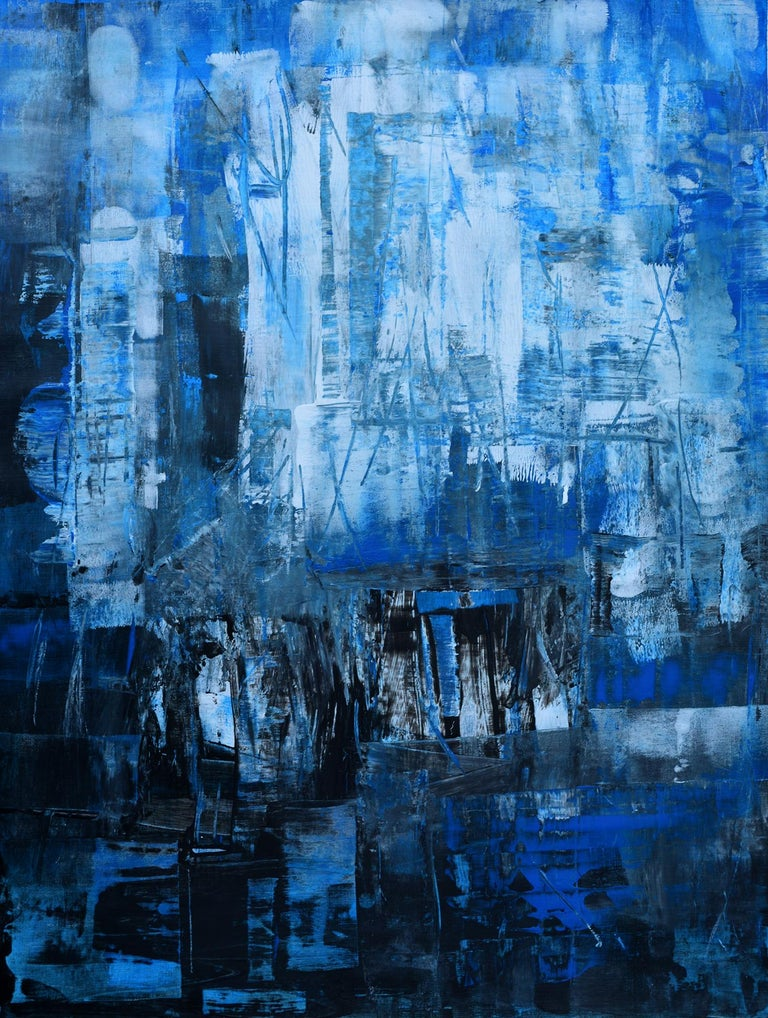'Cityscape' by Rolando Duartes, abstract, acrylic on acid-free, age-resistant painting board