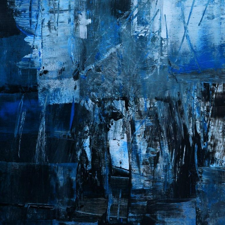 'Cityscape' by Rolando Duartes, abstract painting, acrylic on board For Sale 1