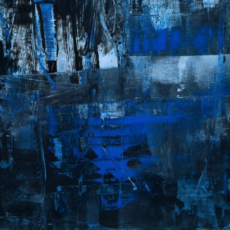 'Cityscape' by Rolando Duartes, abstract painting, acrylic on board For Sale 2
