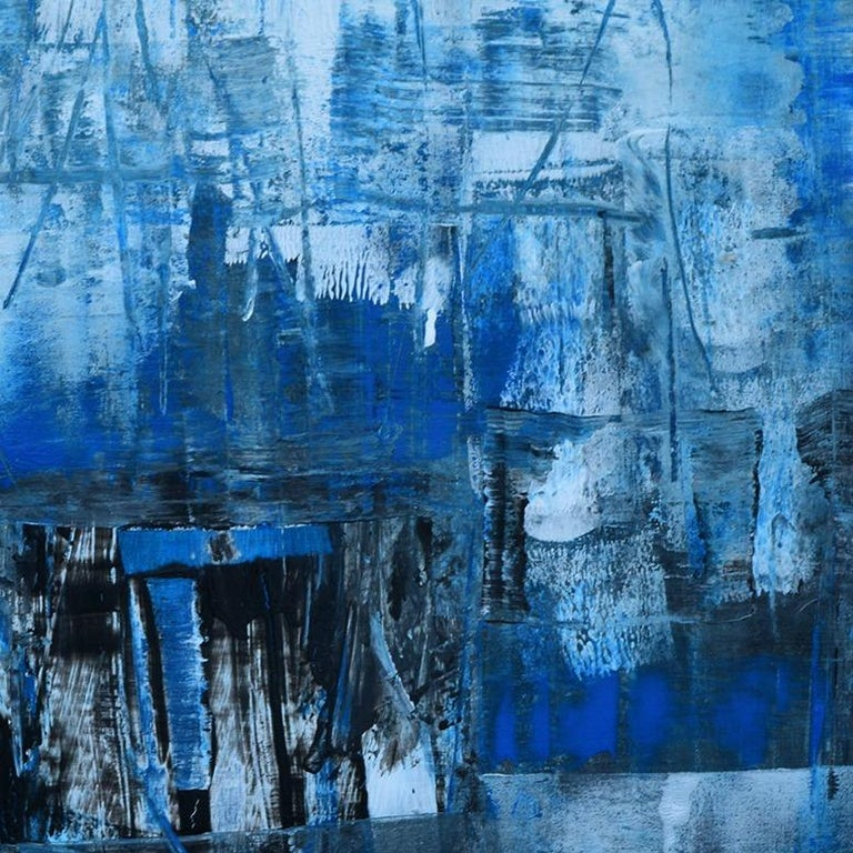 'Cityscape' by Rolando Duartes, abstract painting, acrylic on board For Sale 3