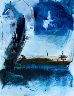 'Harbor' by Rolando Duartes, abstract painting, acrylic on board, seascape