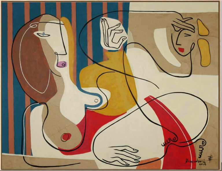 Bernard Simunovic Abstract Painting - 'Just Relax' by B. Simunovic, acrylic on canvas, abstract, figurative, geometric