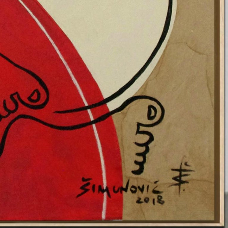 'Just Relax' by B. Simunovic, acrylic on canvas, abstract, figurative, geometric - Brown Abstract Painting by Bernard Simunovic
