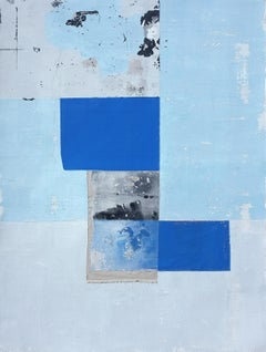 'Blue Square' by Antoine Puisais, mixed-media on linen, abstract, geometric