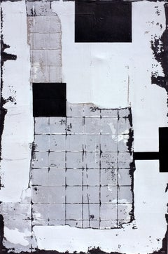 Little Sasha, Contemporary Art Abstract Mixed media Canvas Gray Collage