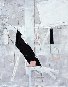 'J'en doute pas...' by Antoine Puisais, mixed-media on linen, abstract, graphic