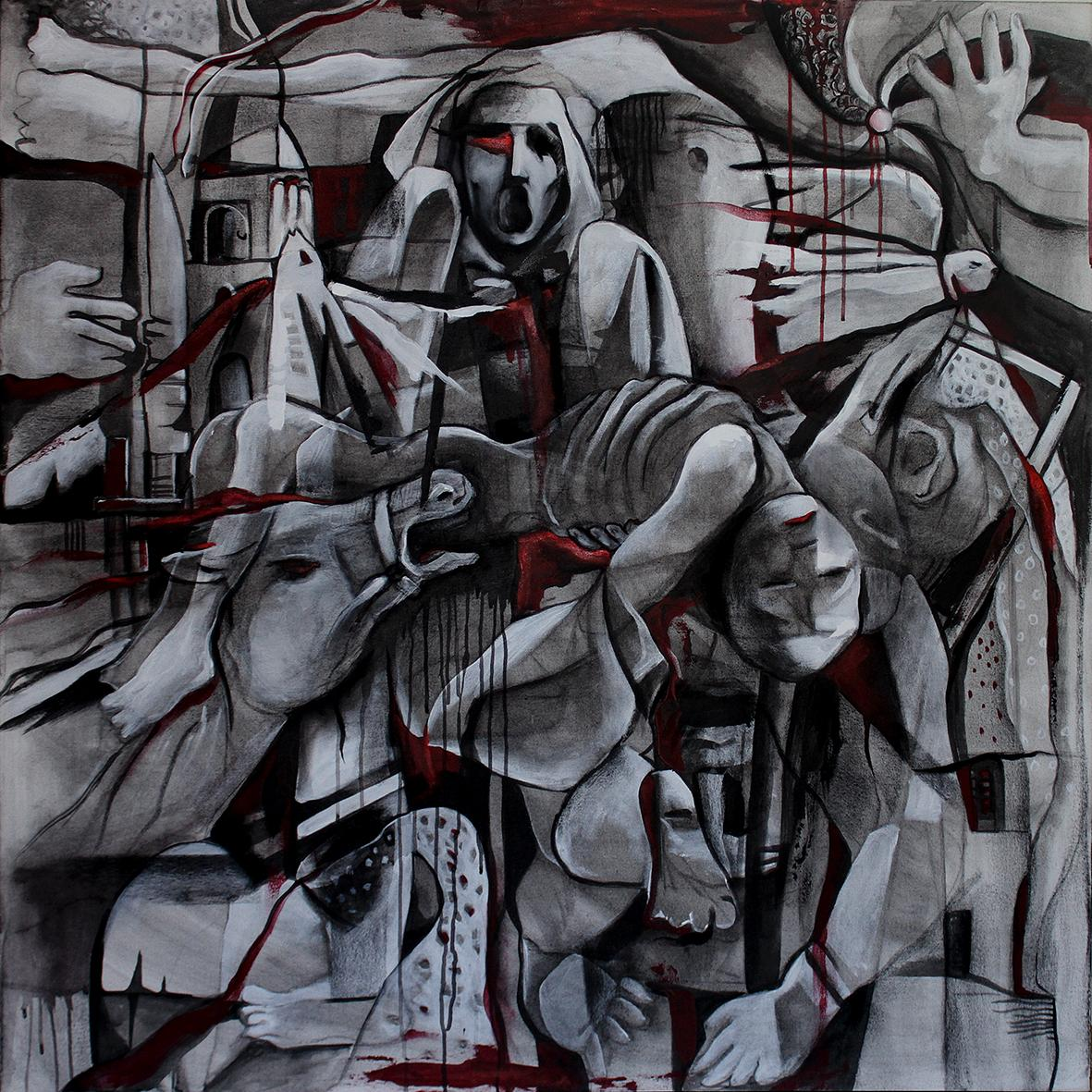 Ethics of War, Contemporary Abstract Art Oil Paintings Canvas Black Portrait