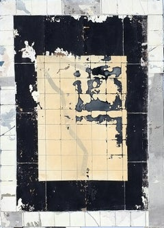 Yellow Court, Antoine Puisais, Mixed-media, Decay, Architectural Collage, Black