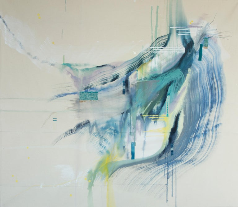 'Simple Exchanges' by Rebecca Stern, abstract expressionism, mixed media (acrylic, ink, on canvas)  'I externalize my internal monologue into a visual narrative. In the studio, I am in control. Regardless of what else might be going on in my life or