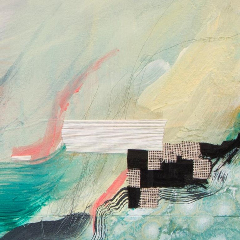 'Middleground' by Rebecca Stern - contemporary abstract mixed media (acrylic, hand embroidery and found fabric on canvas) artwork. A beautiful art piece with expressive green and orange color scale.  Contemporary artwork mounted on stretchers (0.9″