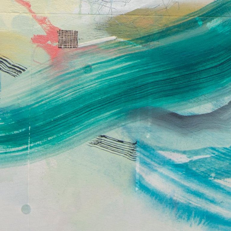 Middleground, Rebecca Stern, Abstract Mixed Media, Expressionist, Green, Orange For Sale 1